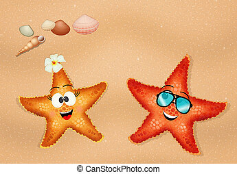 starfishes couple on the beach