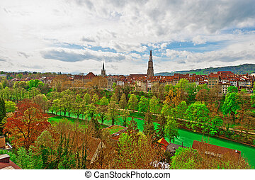 Berne - Aerial View to the Roofs of the City of Berne and...
