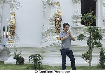 thai man at thai temple