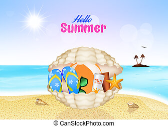 hello summer - illustration of hello summer