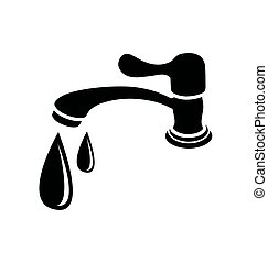 black silhouette faucet - Vector Illustration of silhouette...