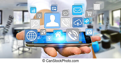 Businessman using modern digital icon application on his...