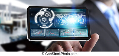 Young man using modern mobile phone - Businessman with...