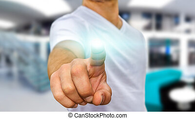 Young man pointing finger - Business man in white tshirt...