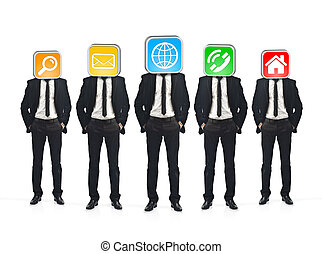 Group of businessmen with application icons instead of their...