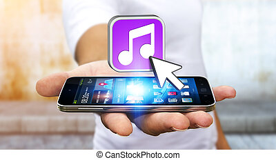Young man using modern mobile phone to listen music - Young...