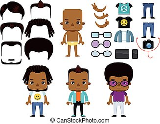 African American Male Hipster Avatar set