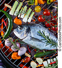 Barbecue grill with sea fishes - Barbecue grill with sea...