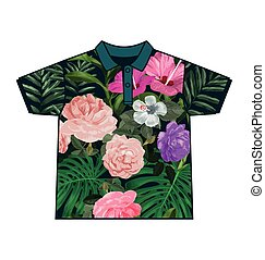 leaf  pattern shirt - Illustration of  leaf  pattern shirt