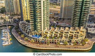 Beautiful aerial view timelapse of Dubai Marina at day time...