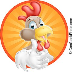 Chicken Cartoon   - A cartoon rooster giving a thumbs up