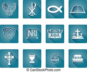 Christian Icons - A set of religious Christian icons and...