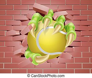 Claw with Tennis Ball Breaking Through Brick Wall - An...