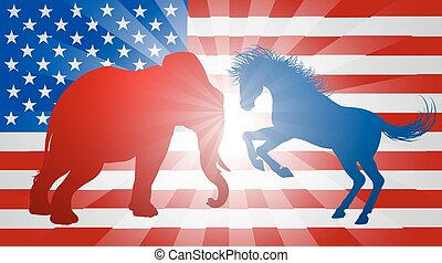 Animals Fighting American Election Concept - A donkey and...