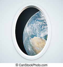 Light spaceship window with earth view Elements of this...