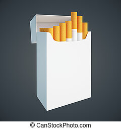 Cigarette pack on dark side - Sideview of open white...