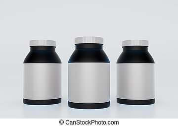 Black bottles with blank labels on light background. Mock...