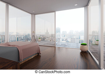 Interior with balcony - Modern spacious bedroom interior...