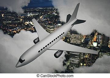 cidade, avião, noturna