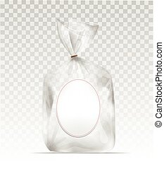 Plastic gift bag with gold shiny ribbon - Empty Transparent...
