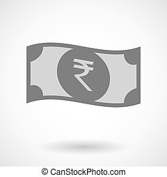 Isolated vector illustration of  a rupee bank note icon