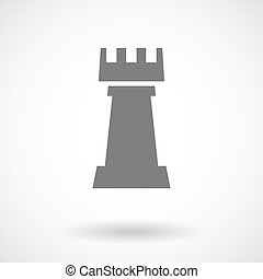Isolated vector illustration of a rook chess figure - Vector...