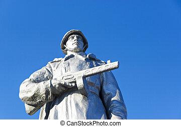 Statue to Soviet warrior - Monument to Soviet warrior...