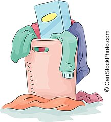 Laundry Detergent Hamper - Illustration Featuring a Hamper...