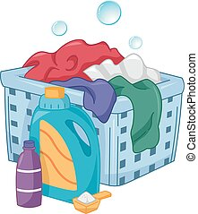Laundry Detergent Hamper Bubbles - Illustration of Bottles...