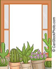 Succulents Plants Window Frame - Frame Illustration...