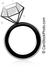 Diamond Ring - Black and White Illustration of a Ring with a...