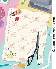 Sewing Notions Elements - Illustration Featuring Colorful...