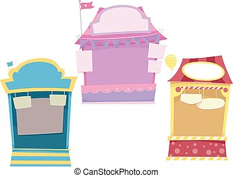 Festival Booths - Illustration Featuring Colorful Booths at...