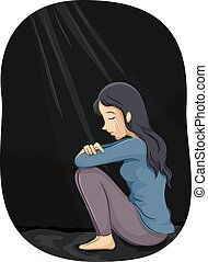 Girl Depression - Illustration of a Depressed Girl Crying in...