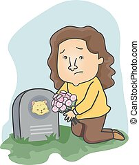 Girl Flowers Cat Grave Offer - Illustration of a Girl...
