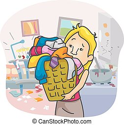 Girl House Chores - Illustration of an Overworked Girl...