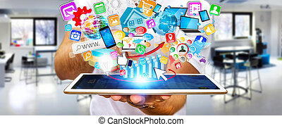 Businessman using modern mobile phone with applications -...