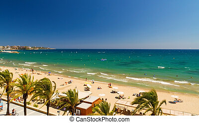 View of Platja Llarga beach in Salou Spain - View of Salou...