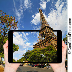 Eiffel Tower in Paris France taken with a mobile phone - The...