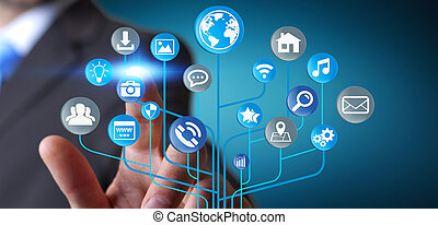 Businessman using modern digital electronic circuit with...