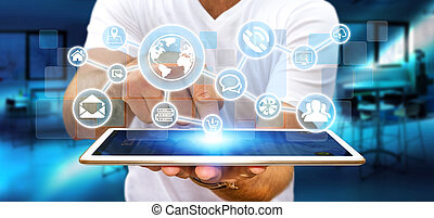 Businessman using digital web network with web icons -...