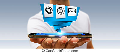 Businessman using modern digital origami icon application on...