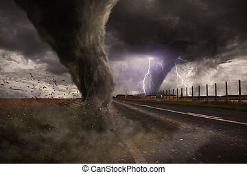 Large Tornado disaster on a road - View of a large tornado...