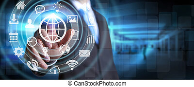 Businessman using digital tactile screen interface with web...