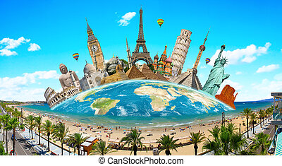Monuments of the world - illustration of famous monuments of...