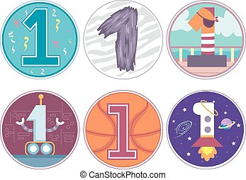 Number 1 Design Pattern 2 Birthday Boy - Illustration...