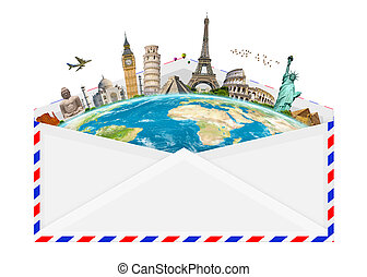 illustration of an envelope full of famous monument - Famous...