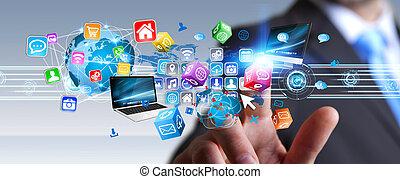 Businessman holding multimedia tech devices in his hand -...