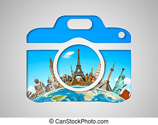 Famous monuments of the world in a camera icon