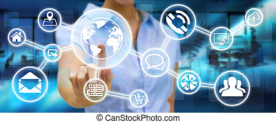 Businesswoman using digital tactile screen interface with...